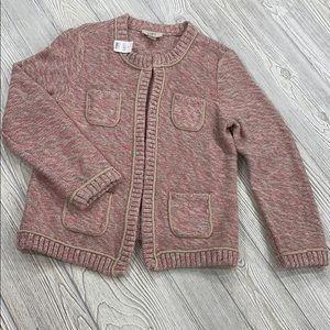 NWT- LOFT pink glitter sweater cardigan - Sz S